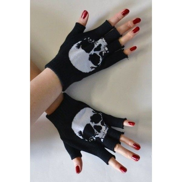 Cutoff Fingerless Wrist Gloves Punk Goth Emo Black White Skeleton... via Polyvore featuring accessories, gloves, goth gloves, white and black gloves, black and white fingerless gloves, skeleton gloves and punk gloves