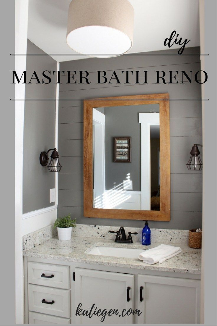 Master Bath Reno with shiplap, West Elm lighting, and farmhouse style trim. Benjamin Moore Chelsea Gray, White Dove, & Gray Owl.
