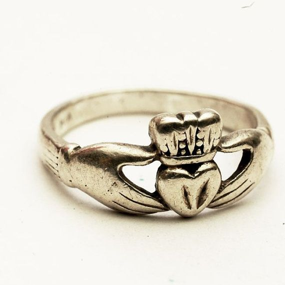 Vintage Irish Claddagh Ring Sterling Silver Ring Size by Spoonier
