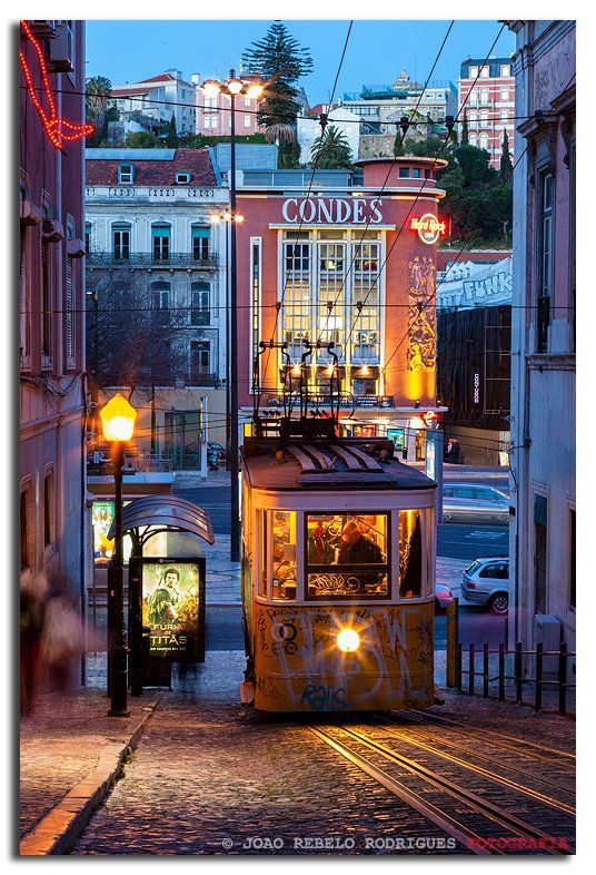 Gloria Funicular at Sundown #Lisbon. Portugal