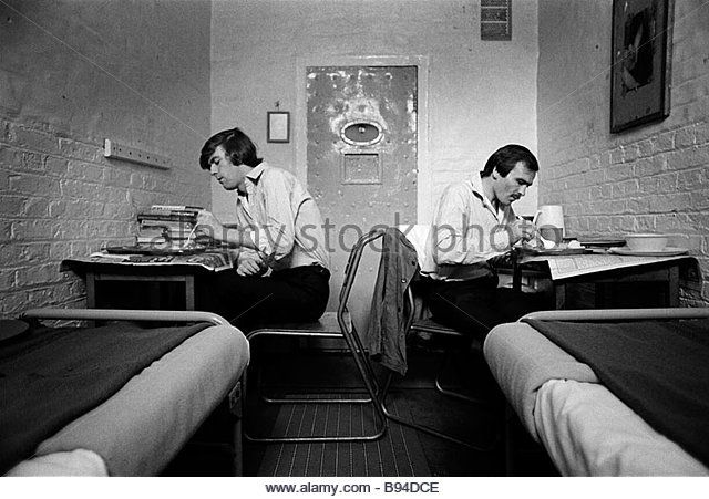 Prisoners eat their lunch in their cell Pentonville Prison London England - Stock Image