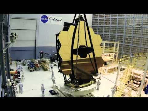 Here's a Webbcam time-lapse of the James Webb Space Telescope being lifted to the assembly stand pre-instrument installation.