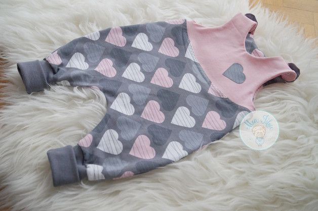 Strampler - süßer Baby-Strampler Gr. 62, rosa Herzen - ein Designerstück von Mon-Filou bei DaWanda