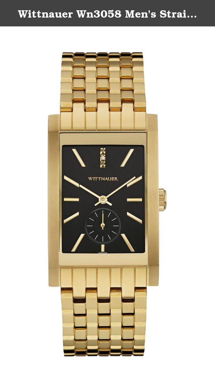 Wittnauer Wn3058 Men's Strainless Steel Gold Bracelet Band Black Dial Square Watch. Wittnauer Wn3058 Men's Strainless Steel Gold Bracelet Band Black Dial Square Watch. Stainless steel case and bracelet with gold-tone finish. 1 individually hand-set diamond at the 12 mark. Scratch-resistant curved sapphire glass. Black dial. Six-hour sub-eye. Double-press deployment closure. Water resistance to 50 meters. Diameter: 28mm X 49.5mm. Styling, classic sophistication, and a tailored look define...