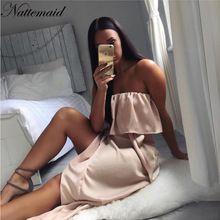 2016 New Arrival Women Ruffled Satin Party Dress Ukraine Summer Female Sexy Club Silk Side Split strapless Dresses(China (Mainland))