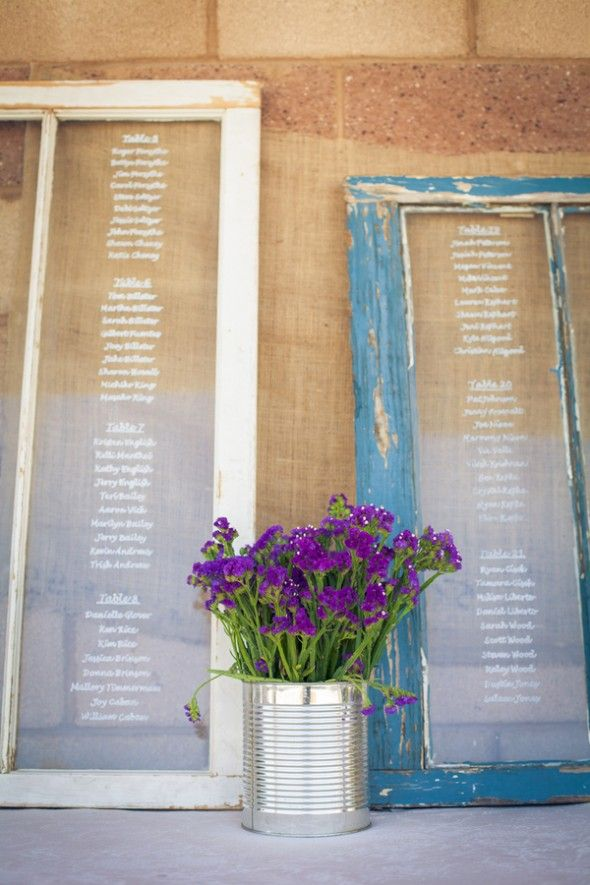 New Rustic Wedding and Country Trends- Instead of place cards, you can write guests names on an old window so they know where they're sitting at the reception, so cute!