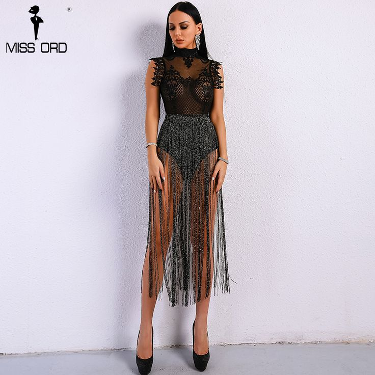Cheap Bodysuits, Buy Directly from China Suppliers:Missord 2018 Sexy Spring and Summer Tassel  Playsuit Lace See Through Glitter Tassel  Bodysuit  FT8901-1