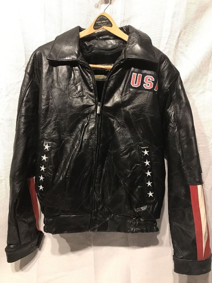 LEGACY Mens BIKER JACKET Sz L GENUINE LEATHER Eagle Motorcycle Flag USA #LegacyOriginalLeatherwear #MotorcycleBikerRider