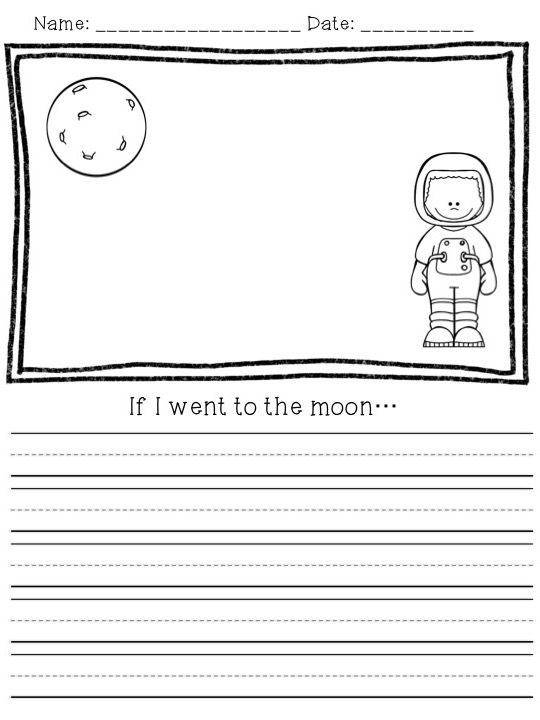 FREE space writing prompts for primary grades! Perfect for a unit about space…