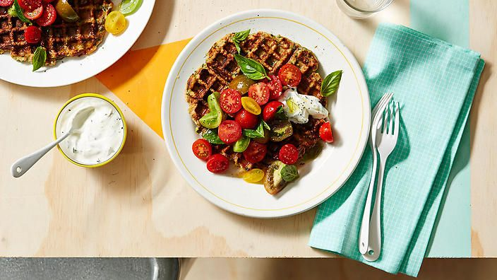 Zucchini waffles with cherry tomato salsa and dill yoghurt from @rebeccassunday