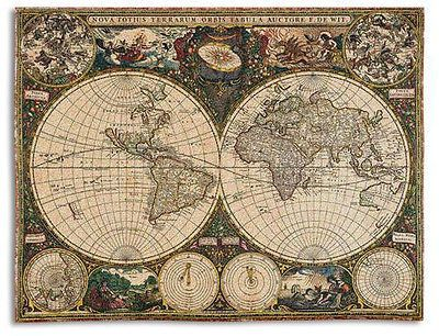 """Old World Map Tapestry Throw"" Old World Map Tapestry re-creates a double hemisphere map by Frederik de Wit, premier map maker of the 17th century. Polar maps, constellations, and depictions of Aristo"