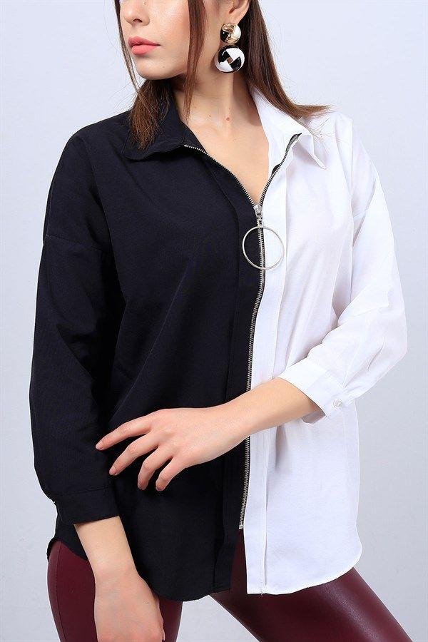 29 95 Tl Siyah Beyaz Renkli Bayan Fermuarli Gomlek 12729b Modamizbir Moda Stilleri Gomlek Mankenler