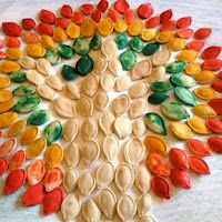 do this as a whole class big mural, dye seeds to do primary-secondary colours