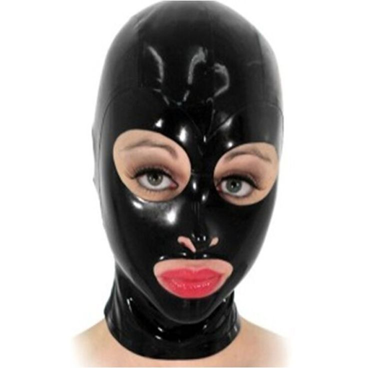 2016 new Fashion Black latex Uniform hood Fetish rubber costumes mask with open eyes and mouth plus size Hot sale