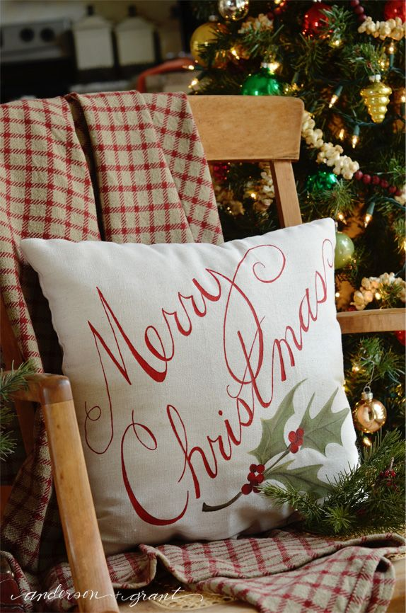 How to Paint a Pillow for Christmas decorating post at Live Laugh Rowe   www.andersonangrant.com #Christmas #DIY