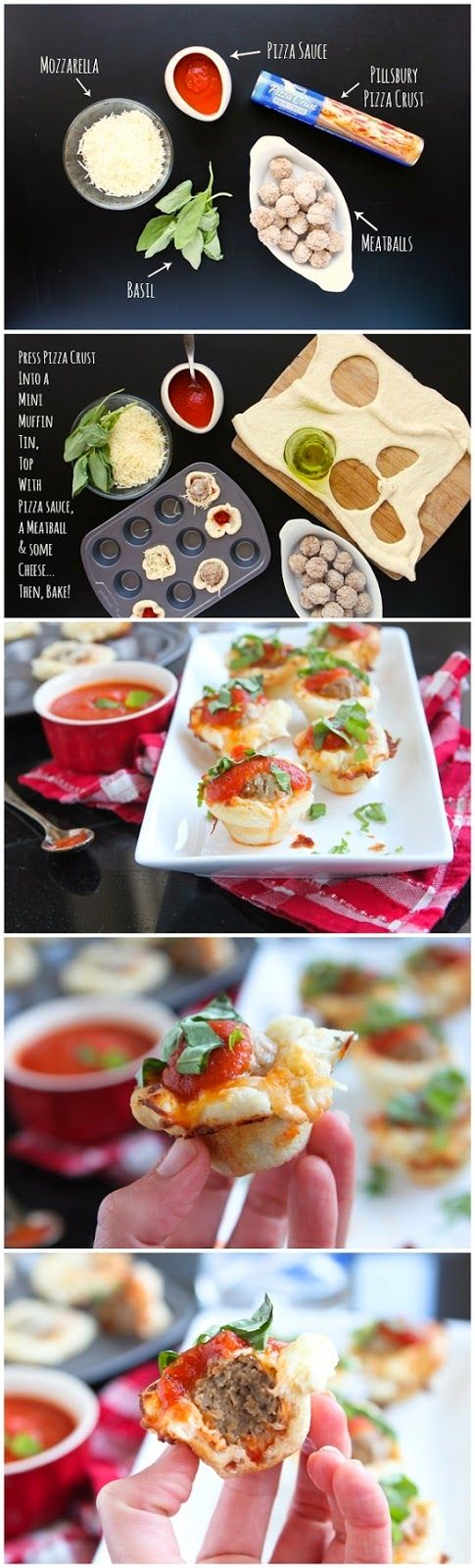 Full recipe: http://www.tablespoon.com/recipes/meatball-pizza-cups/2e6b541a-9ae0-4f18-8dfe-9e0a2458b224