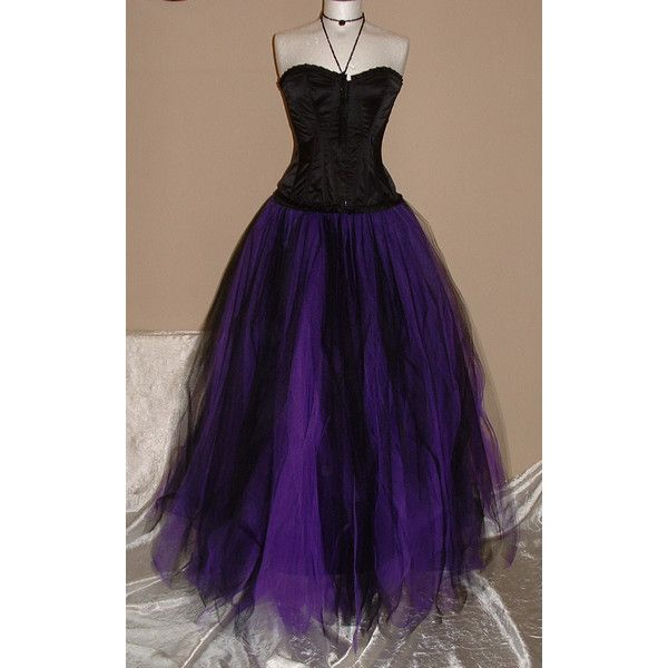 womens ladies tutu skirt long purple black tulle goth dance bridal... ($80) ❤ liked on Polyvore featuring dresses, long dress, black prom dresses, black corset dress, purple prom dresses, gothic victorian dress and corset prom dresses