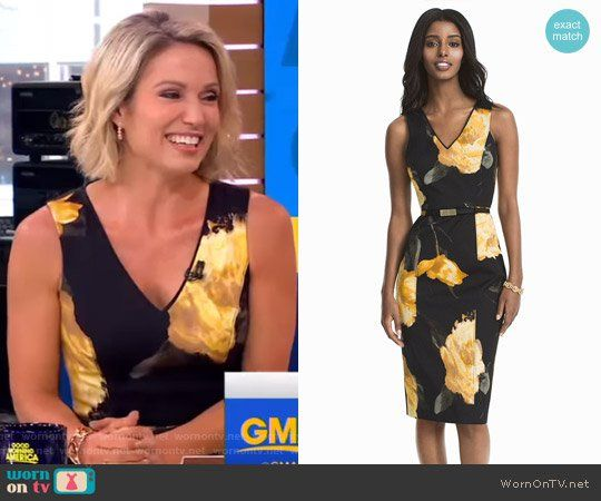 Amy's black floral sheath dress on Good Morning America.  Outfit Details: https://wornontv.net/72076/ #GoodMorningAmerica