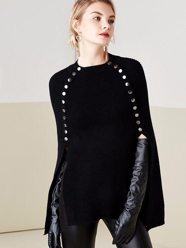 Black Studded Sweater Cape