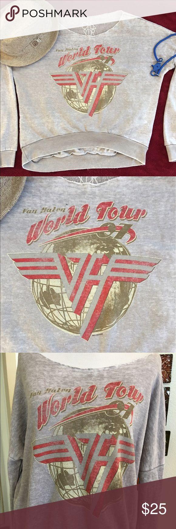 VAN HALEN WORLD TOUR SWEATSHIRT Ladies XS fits large. 80's off the shoulder. Longer in back. 50 cotton/50 poly. Worn 1 time. In perfect condition! cha sor Tops Sweatshirts & Hoodies