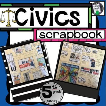 Civics ScrapbookPerfect for teaching Standard SS5CG1! Students create a scrapbook from start to finish. *Responsibilities and duties of a citizen*10 Bill of Rights*Voting Amendments: 15th, 19th and 24th   and Voting Rights Act of 1965     *Civil Rights Amendments 13th and 14th and Civil Rights Act of 1964*Due Process*US mottoThis product walks students through creating their own Civics scrapbook using a file folder and sheets of pictures provided.