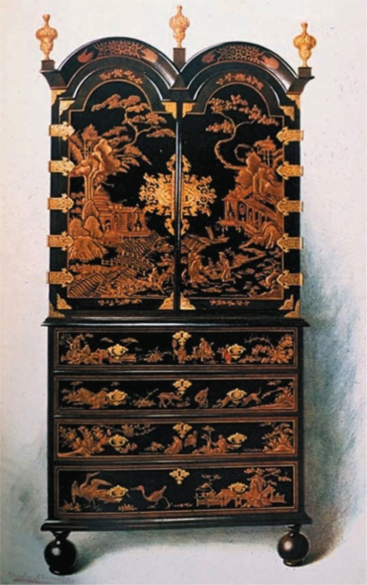 Queen anne chair history - William And Mary Japanned Double Hooded Desk And Bookcase 17th Century England