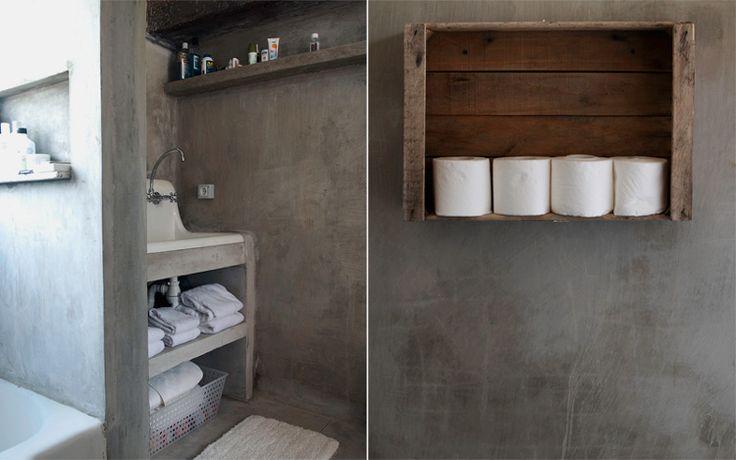 Inspiratiebeeld badkamer...  Interesse in tadelakt , leem, betonstuc, mortex, betoncire afwerking voor vloeren, meubels of wanden? www.betonlookdesi... of www.molitli-inter... zijn specialist op dat gebied !!