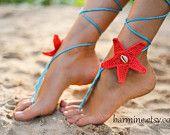 Corallo e Aqua Starfish Seashells Crochet a piedi nudi sandali, accessorio da sposa, gioielli da sposa, gioielli piede di spiaggia nozze, scarpe da sposa, Sexy