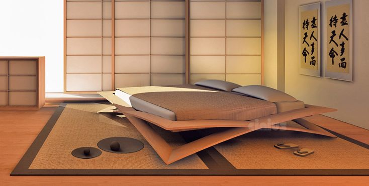 letto giapponese in legno di ciliegio e faggio stratificato curvato a caldo