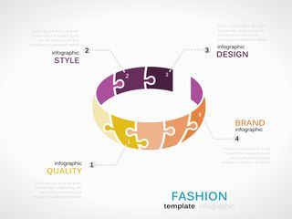 Fashion infographic template with bracelet symbol model made out of jigsaw pieces