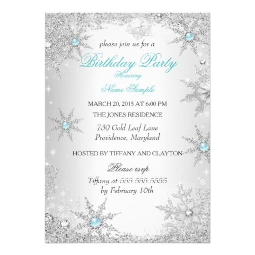 Wedding Website Domain Name Ideas: Teal Winter Wonderland Birthday Party Card