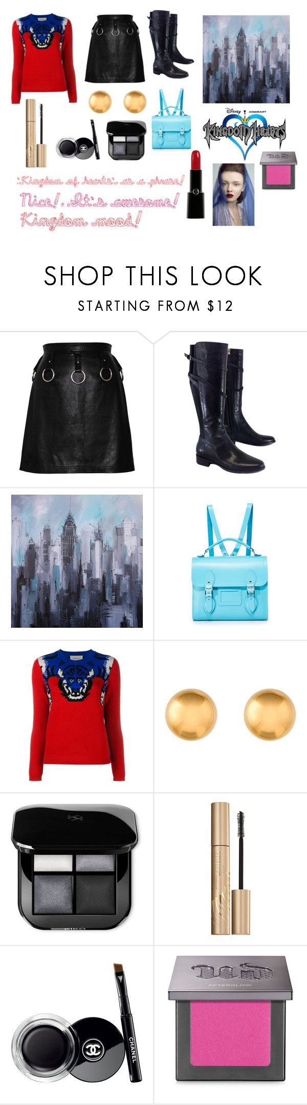 """For Scarlett (friend) - Scarlett's ideal wardrobe by me: 'Kingdom of hearts' as a phrase inspired!"" by sarah-m-smith ❤ liked on Polyvore featuring L.K.Bennett, The Cambridge Satchel Company, Gucci, Stila, Chanel, Urban Decay and Giorgio Armani"