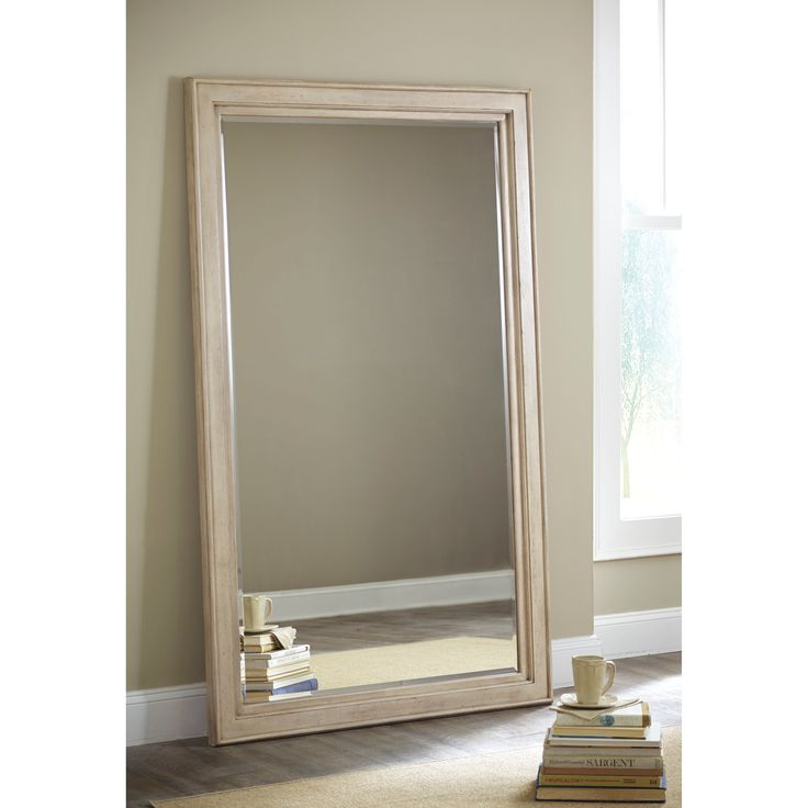 A vintage parchment white wooden frame with a gently distressed finish  surrounds beveled glass in this. 67 best MIRRORS images on Pinterest   Mirror walls  Floor mirrors