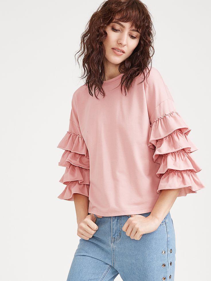 Camiseta con manga a capas de volantes - rosa-Spanish SheIn(Sheinside)