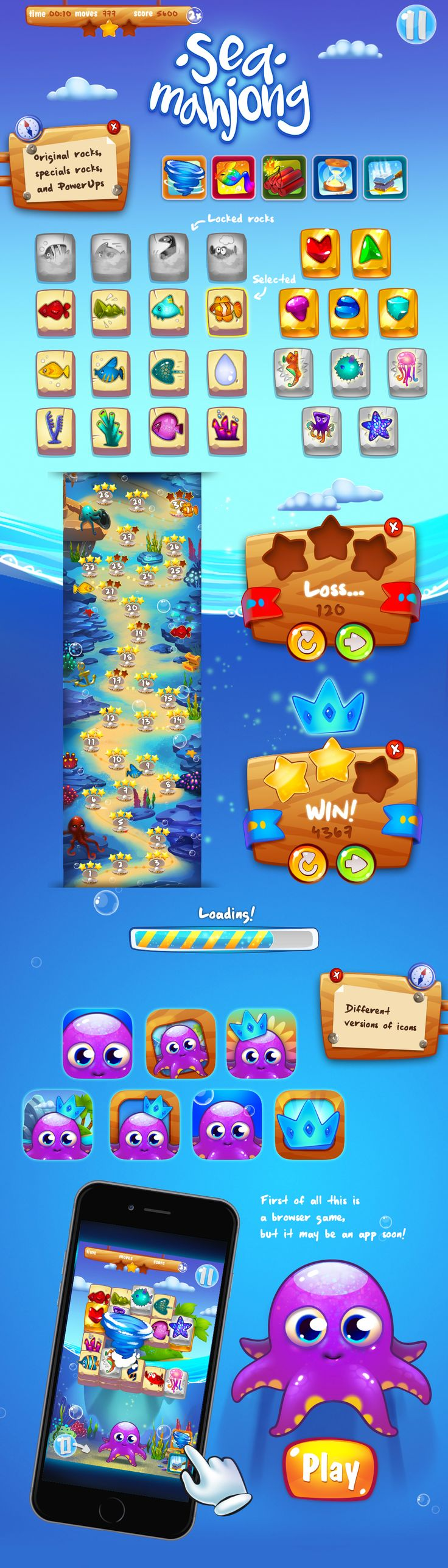 Sea Mahjong 2D Game Graphic 3-match on Behance