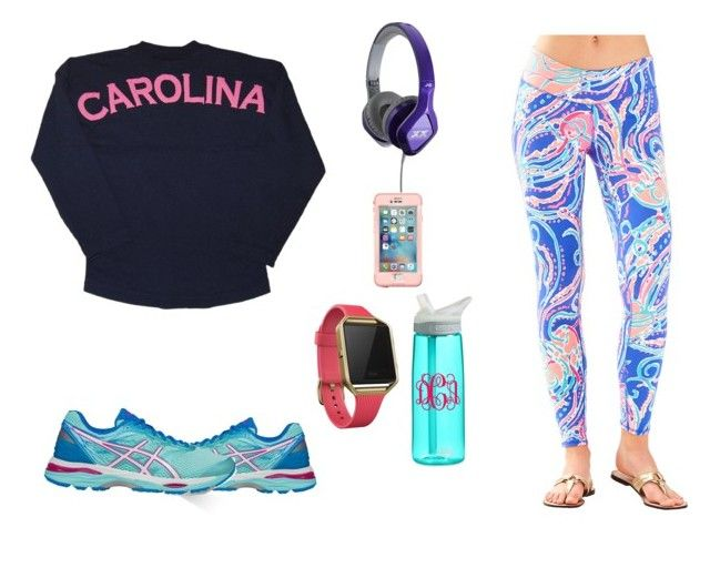 """Quick Jog Before Retail Therapy"" by palmetto-princessss on Polyvore featuring Asics, Lilly Pulitzer, JVC, LifeProof, Fitbit, cute, pretty, preppy, classy and CasualChic"