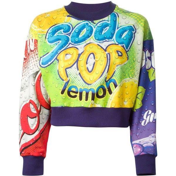 Moschino Soda Pop Sweatshirt (£125) ❤ liked on Polyvore featuring tops, hoodies, sweatshirts, sweaters, moschino, shirts, multicolour, crew neck sweat shirt, long sleeve shirts and crew-neck sweatshirts