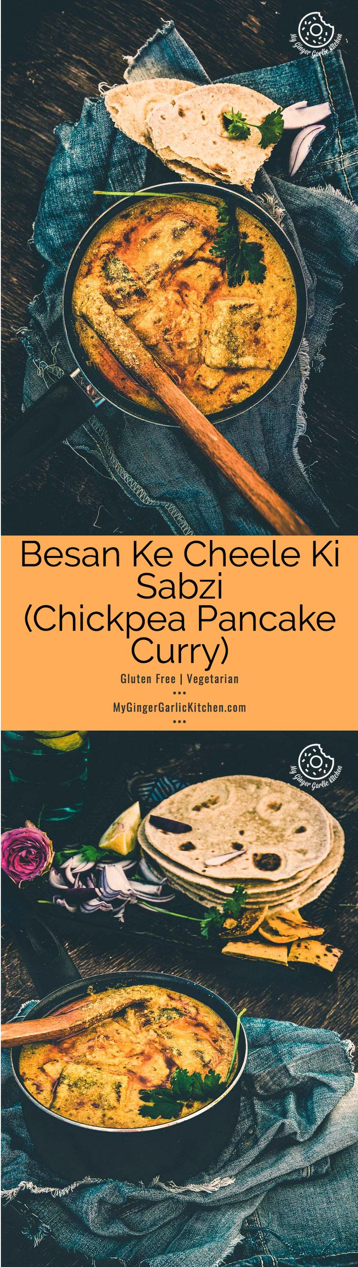 Rajasthani #Besan Ke Cheele Ki Sabzi | Chickpea Pancake Curry is a delicious and exotic curry made with #chickpea flour #pancakes.  Later pancakes are cooked in a spicy and tangy yogurt gravy. From mygingergarlickitchen.com