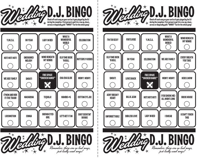 BPM Wedding DJ Bingo Game
