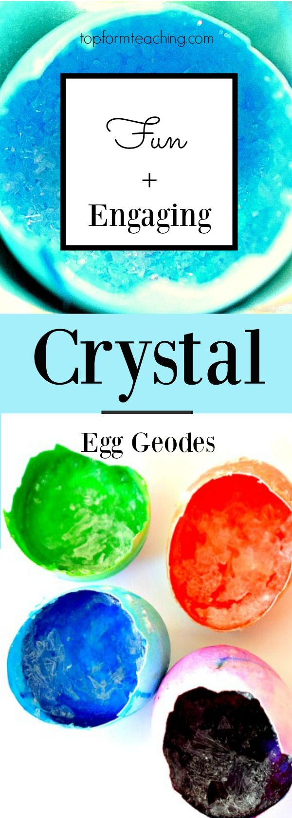 This fun and engaging crystal egg geodes experiment allows your students to grow crystals using egg shells and basic household products.