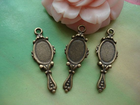 [BEAUTY & THE BEAST]  30 pcs 24x10mm Antique Bronze lacy Mirrors by handmadeworld88