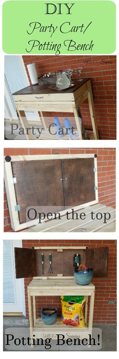 Make a party cart that turns into a potting bench. Free plans!!           #getbuilding2015 #buildgrowlove