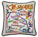 Ski Colorado Embroidered Pillow