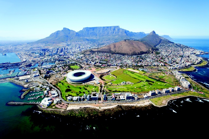 Amazing aerial shot of Cape Town, SA.