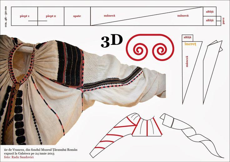 Cand maneca este o spirala 3D / 3D spiral sleeves  Camasa de Vrancea, specifica zonei, cu altita croita separat si cu maneca rasucita - ...