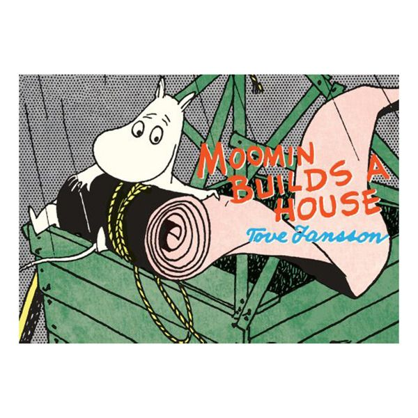 "Moomin Builds a House  The debut appearance of everyone's favorite pest, Little My! "" Another classic Moomin story reworked in full color, with a kid-proof but kid-friendly size, price, and format."" After Mymble's family comes to visit the Moomins, her littlest and most badly behaved sister, Little My, is left behind. She promises to behave if she is given Moomin's Bedroom."