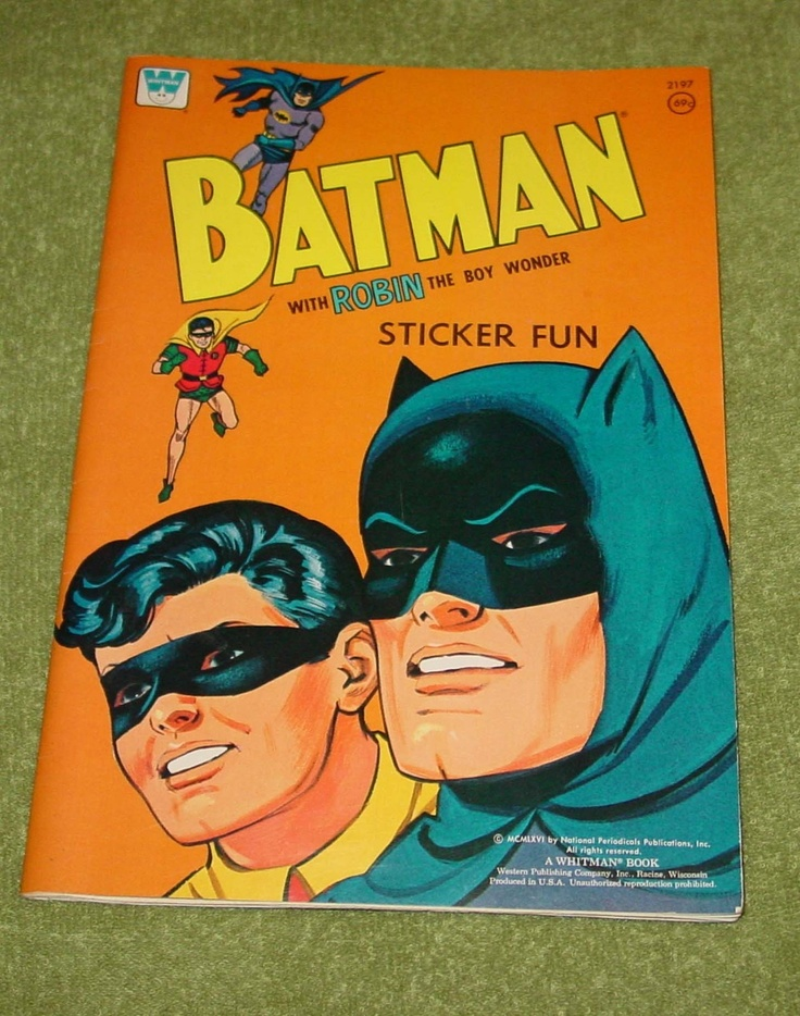 Batman Robin Sticker Fun Book 1966 Unused Store Stock Coloring 1960s