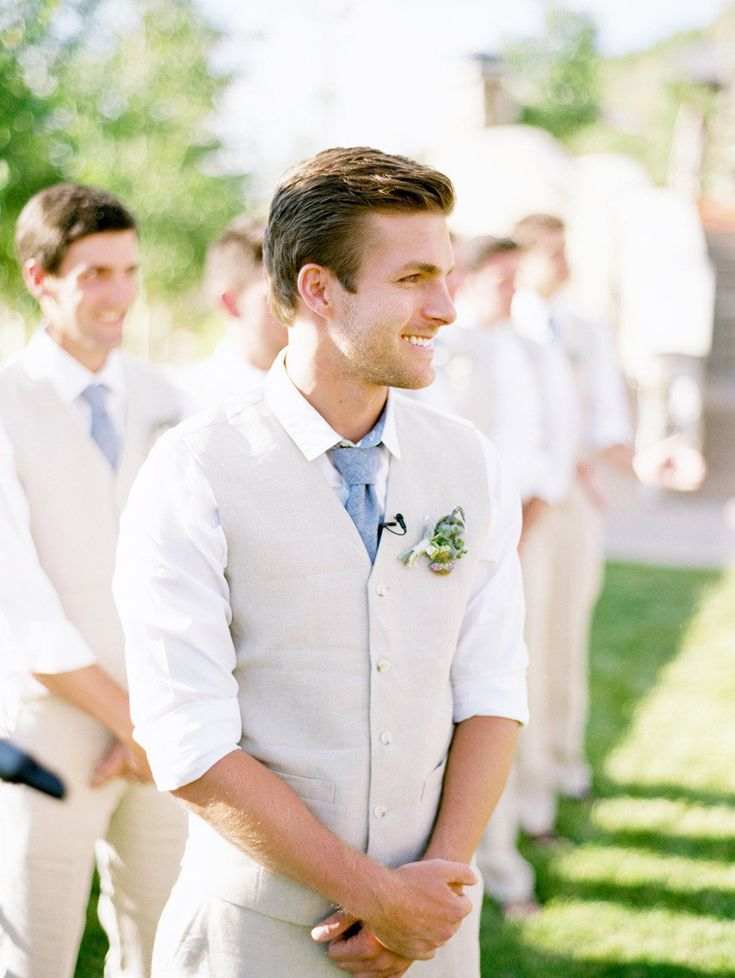 I like this look for the groomsmen. But with a purple tie! A full suit for the groom though!