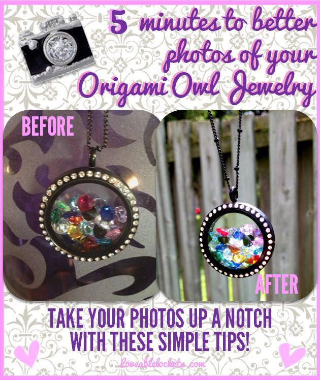 Simple tips to help you take better photos of your Origami Owl Jewelry.  http://loveablelockets.com