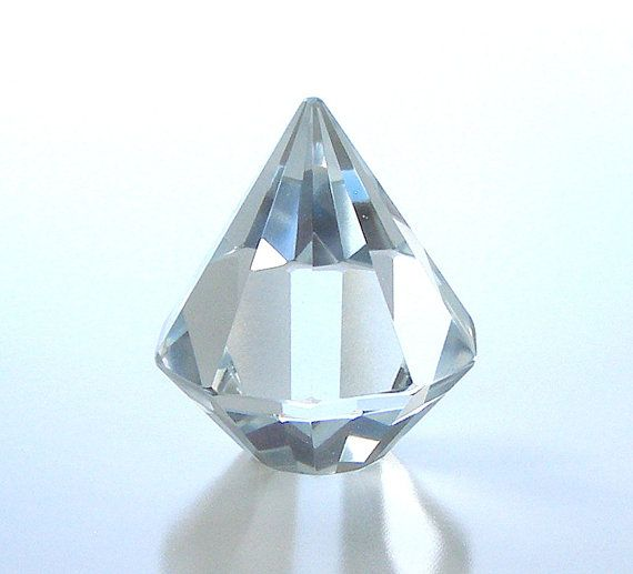 Vintage Crystal Diamond Paperweight Collectible by retrogroovie
